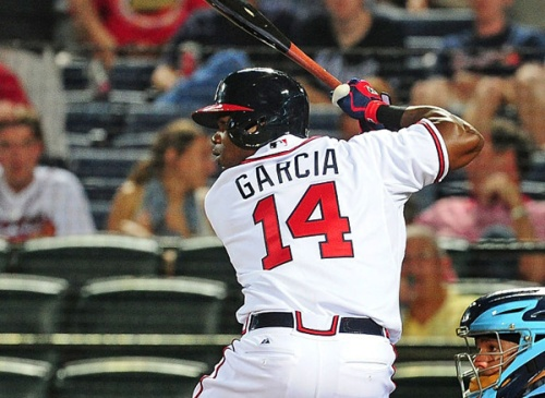 ATLANTA, GA - MAY 19: Adonis Garcia #14 of the Atlanta Braves gets set for a pitch during his first career MLB at-bat in the ninth inning against the Tampa Bay Rays at Turner Field on May 19, 2015 in Atlanta, Georgia. (Photo by Scott Cunningham/Getty Images) *** Local Caption *** Adonis Garcia
