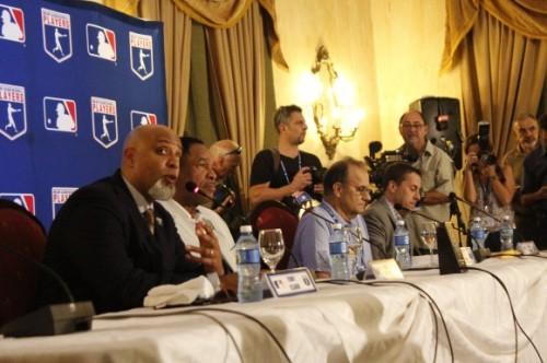 De izq a der, Tony Clark, Dave Winfield, Joe Torres y Dan Halen, FOTO Cubadebate